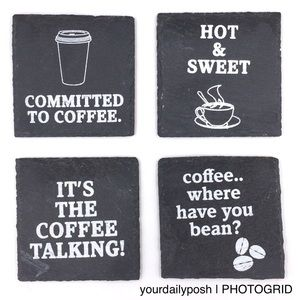 Nordstrom slate stone coffee quote coasters set